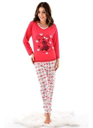 Pemilo Kadın 7000-14 Desenli Uzun Kol 4 Mevsim Pijama Takımı KIRMIZI Kırmızı